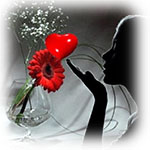 Аватар Девушка на фоне сердечка и красной герберы