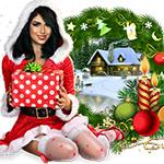 Аватар Девушка в одежде снегурочки держит в руках подарок на фоне елочных шаров, свечей и дома