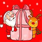 Аватар Санта Клаус и олененок держат подарок