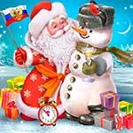 Аватар Дед Мороз с флагом России и снеговик в шапке полицейского на фоне подарков