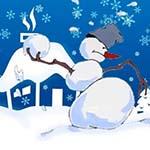 Аватар Снеговик держит в руке снежок на фоне дома и снежинок