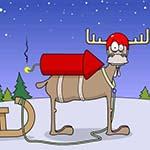 Аватар Новогодний олень запряженный в сани стоит на снегу на фоне неба и деревьев