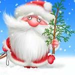 Аватар Дед мороз стоит на снегу и держит елку в руке