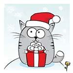 Аватар Серый кот в новогодней шапочке с подарком