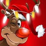 Аватар Олень в новогодней шапочке с гирляндой огней на рогах