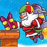 Аватар Дед Мороз с реактивным двигателем за спиной кладет подарок в трубу