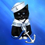 99px.ru аватар Черный котенок-моряк с хвостом-якорем