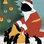 Аватар Черный кот в образе деда Мороза с мешком и мышами вокруг него, by taschaka Акимова Наталья