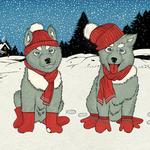 Аватар Кошка и собака в шапке, варежках и шарфе, by taschaka Акимова Наталья
