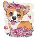 Аватар Собака породы вельш - корги в цветах