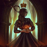 Аватар Девушка с короной над головой держит в руках череп
