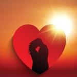 Аватар Влюбленные изображены на сердечке