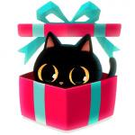 Аватар Черный котик в подарочной коробке