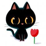 99px.ru аватар Черный котик с красным тюльпаном