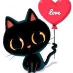 Аватар Черный котик с воздушным шариком в виде сердечка с надписью love / любовь