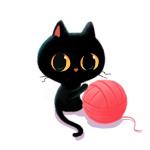 Аватар Черный котик с клубком ниток