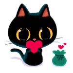 Аватар Черный котик с сердечком в лапках
