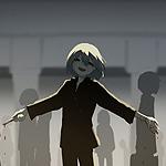 99px.ru аватар Счастливый мальчик с окровавленным ножом в руке на улице города, by avogado6