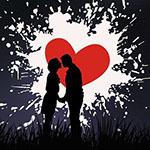 Аватар Силуэты парня и девушки на фоне сердечка