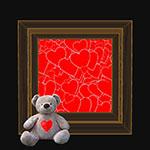 Аватар Игрушечный медвежонок на фоне сердечек