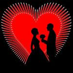Аватар Силуэты мужчины с цветком и девушки на фоне сердечка
