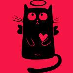 Аватар Черный кот-ангел на красном фоне