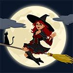 Аватар Ведьма и черная кошка на метле на фоне луны