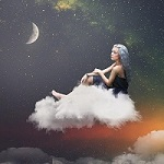 99px.ru аватар Девушка с голубыми волосами сидит на облаке в ночном небе, by Zenja Gammer
