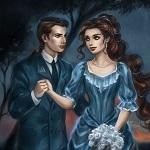 Аватар Мужчина глядя в глаза девушке, держит ее заруку стоя на опушке леса вечернего дня, укрывших листвой дерева под сумеречным небом