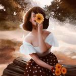 99px.ru аватар Девушка с цветами в руках