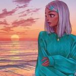 99px.ru аватар Девушка стоит на фоне заката солнца над морем, автор Angel Ganev