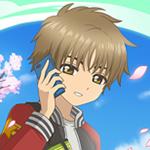 99px.ru аватар Шаоран Ли из аниме Сакура - Ловец карт: Прозрачные карты разговаривает по телефону на улице, стоя под цветущими сакурами