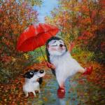 99px.ru аватар Ежик со щенком под зонтом прогуливаются по тротуару осеннего города