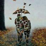 99px.ru аватар Парень с девушкой под зонтом из опавшей листвы идут по дорожке