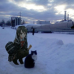 99px.ru аватар Девушка сидит на корточках рядом с котом