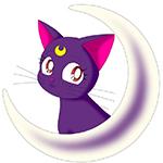 99px.ru аватар Кошка Луна из аниме Сэйлор Мун выглядывает из-за полумесяца