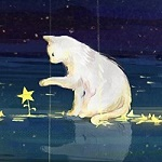 99px.ru аватар Белый кот со звездочкой на фоне ночного неба
