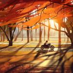 99px.ru аватар Девушка едет на мотоцикле по дороге, по сторонам которой растут осенние деревья