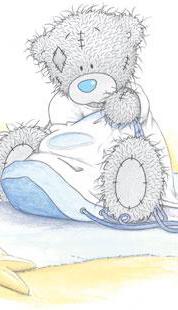 Обои Тедди мишка с подушкой