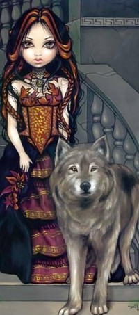 Обои Девушка с волком