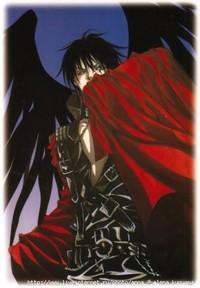 Обои Анимешный парень с чёрными крыльями и в чёрном костюме прикравается красным плащом