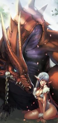 Обои Эльфийка с прирученным драконом