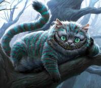 Аватар вконтакте Чеширский кот лежит на ветке дерева и лыбится