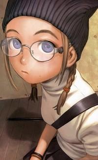 Обои Девушка с косичками в очках, арт художника Range Murata
