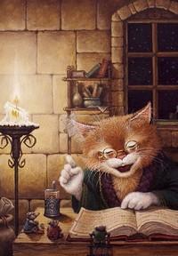 Обои Учёный кот рассказывает мышкам сказки