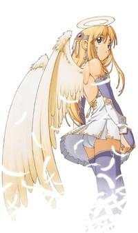 Обои Девушка - ангел обернулась среди летящих перьев