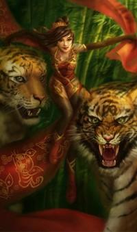 Обои Восточные мотивы (Девушка  с тиграми)
