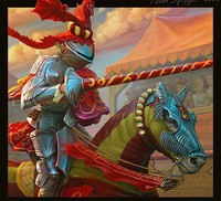 Аватар вконтакте Рыцарь на турнире, на голове восседает верный оруженосец, красный дракон.