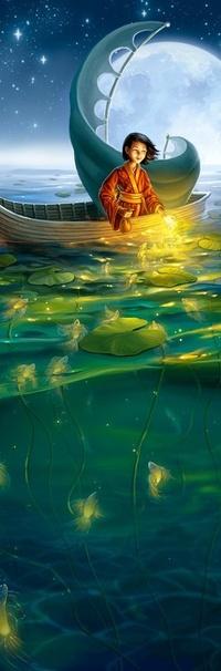 Обои Китаец-рыбак на лодке подманивает рыбу светом