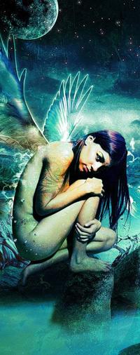 Обои Девушка с крыльями скукожилась на камне